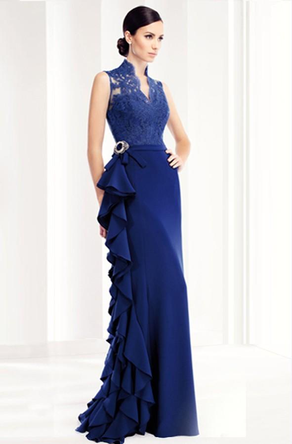 J109 Blue Lace Long Evening Dresses New The Banquet Elegant Backless