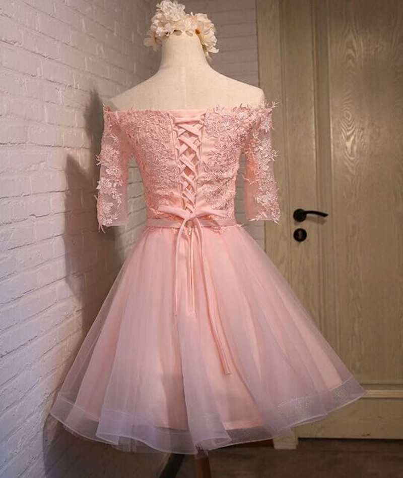 J123 Charming Lace Top Short Prom Dress, Half Sleeve Homecoming ...