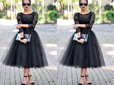Lace Black Prom Dresses,Long Sleeves Prom Dresses,Evening Prom ...