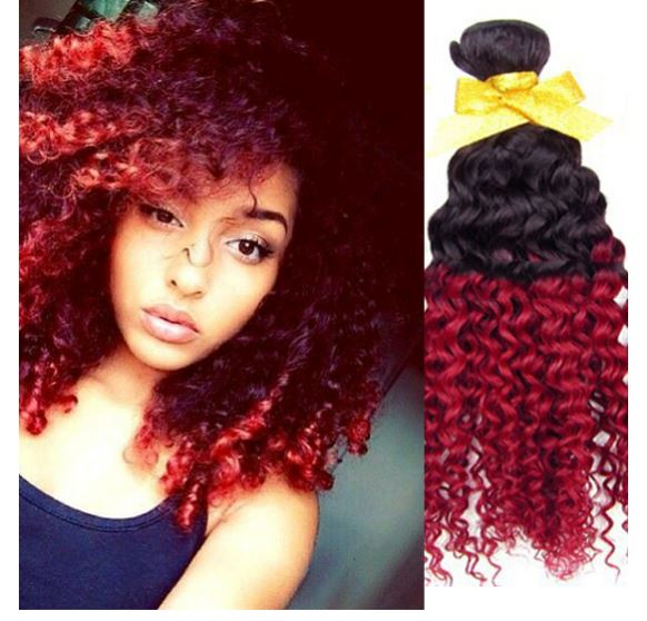 Wine Red Weave Deep Curly Hair Ombre Hair Fabulous Hair Online