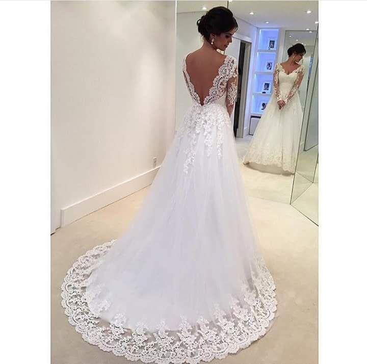 Long sleeve wedding dress,lace wedding dress,white lace bridal gown ...