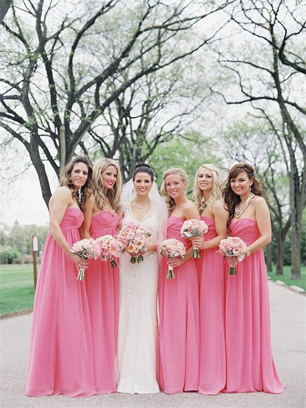Long bridesmaid dress,chiffon bridesmaid dress,strapless Bridesmaid ...