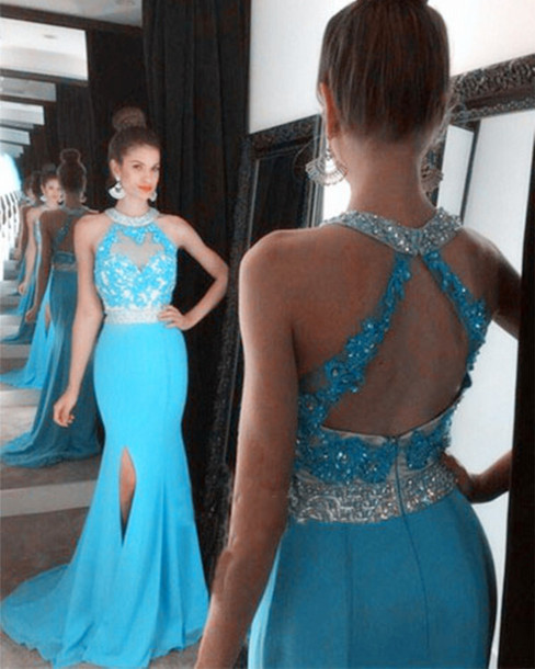 Blue Halter Top Prom Dresses
