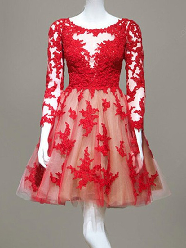 Lace Long Sleeve A-Line Homecoming Dress,Short Prom Dresses,Cocktail ...