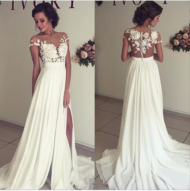see through lace wedding dress beach wedding gown sexy With prom dress as wedding dress