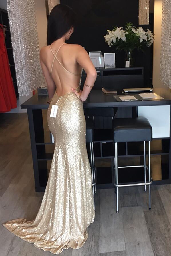 Backless Gold prom dresses, Backless sequin prom dress, Mermaid prom ...