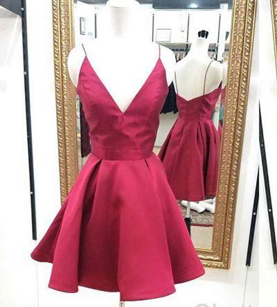 23ace099843 Burgundy A-line V-neck short prom dress