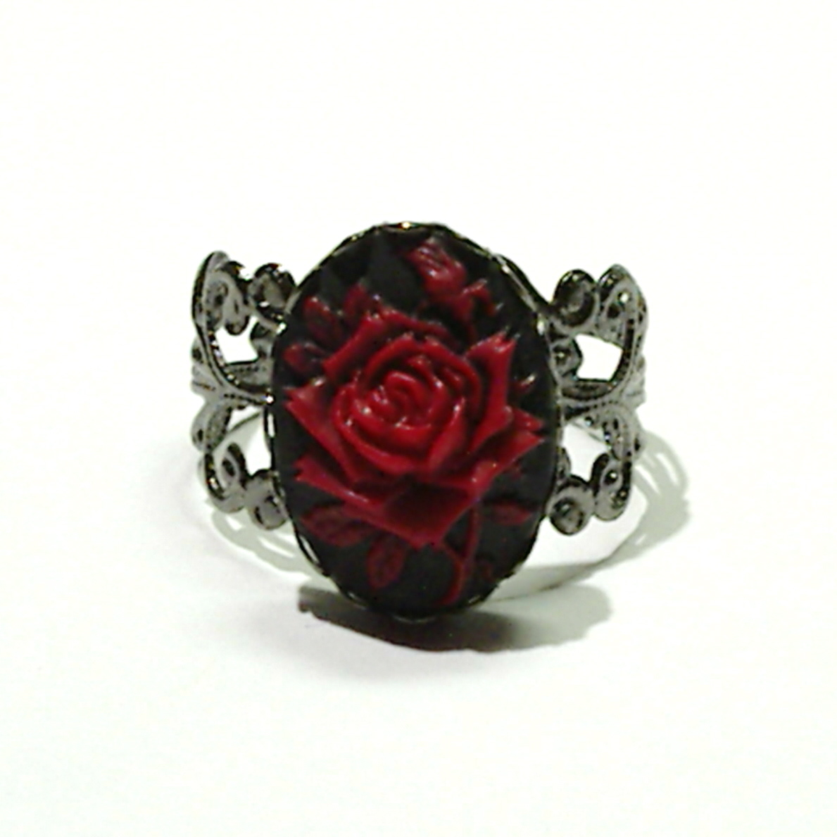 flower red pinup style large etsy statement adjustable resin ring rings vintage rose il market