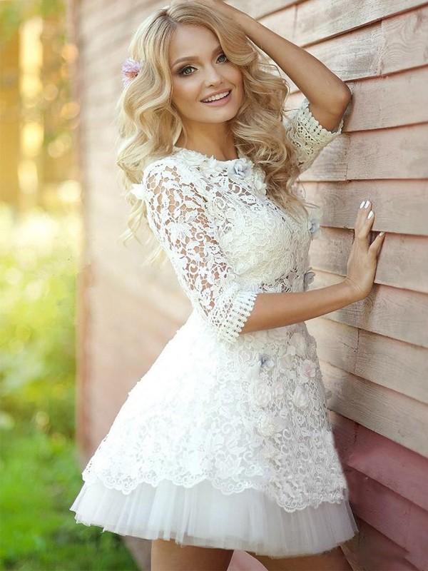 Short prom dress,white homecoming dress,lace cute homecoming dress ...