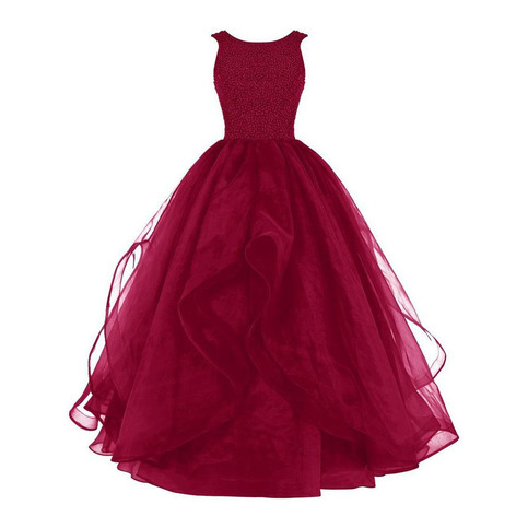 Bateau Neck Burgundy Organza Long Prom Dress Red Beaded Ball Gown Prom Dress With Ruffles