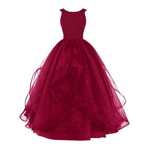 Bateau Neck Burgundy Organza Long Prom Dress Red Beaded