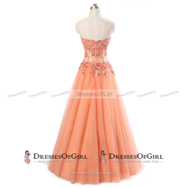 Stunning Sweetheart A-line Floor Length Prom Dress, Light Orange ...