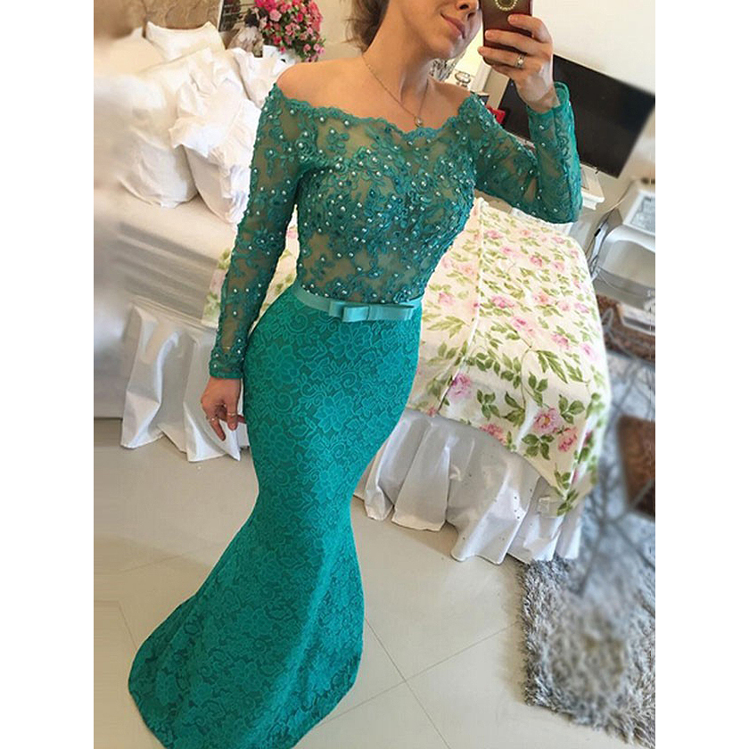 Long Sleeve Lace Prom Dresses, Off the shoulder Teal Prom Dress with ...
