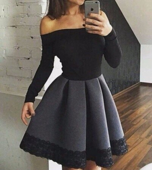 Little Cute Elegant Black Long Sleeve Short Prom Dressevening