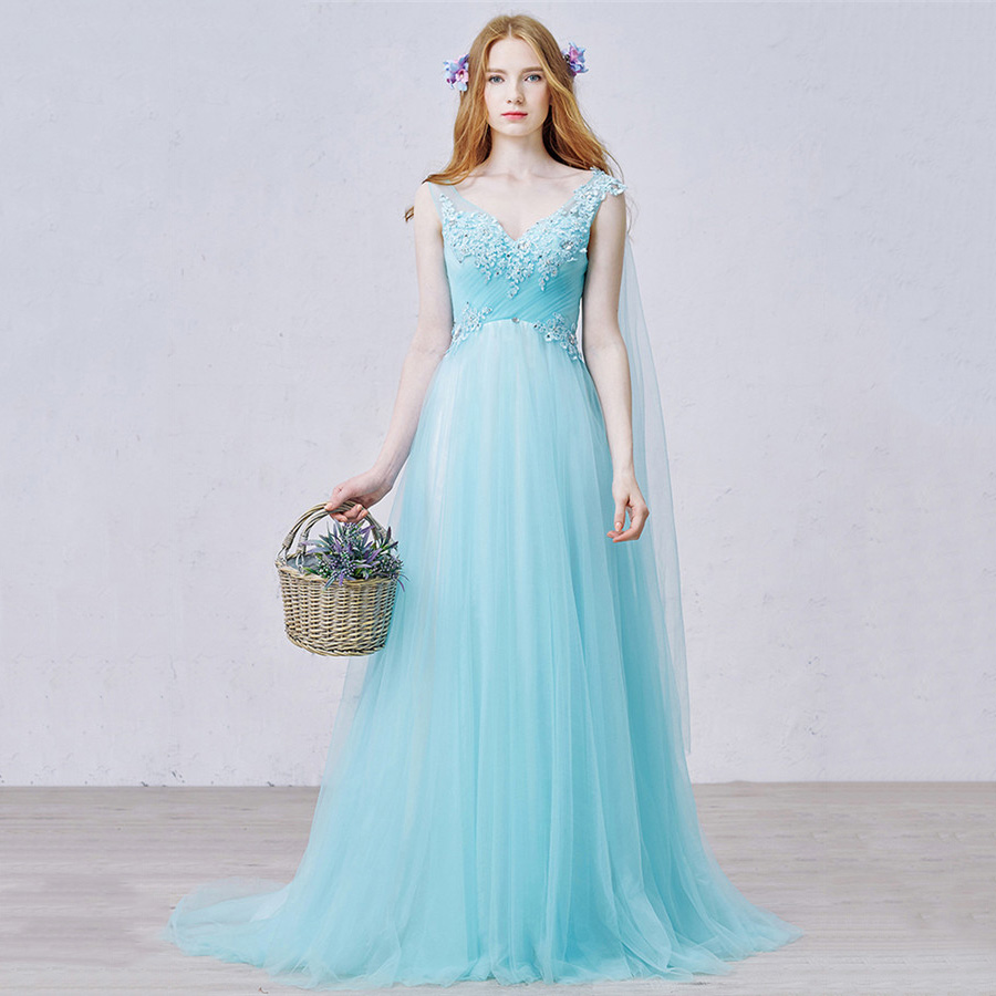 Fairytale A-line V Neck Ice Blue Long Prom Dress, Princess Empire ...