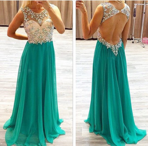 A77 Scoop Neckline Beaded Bodice Open Back Party Dress Evening Gown ...