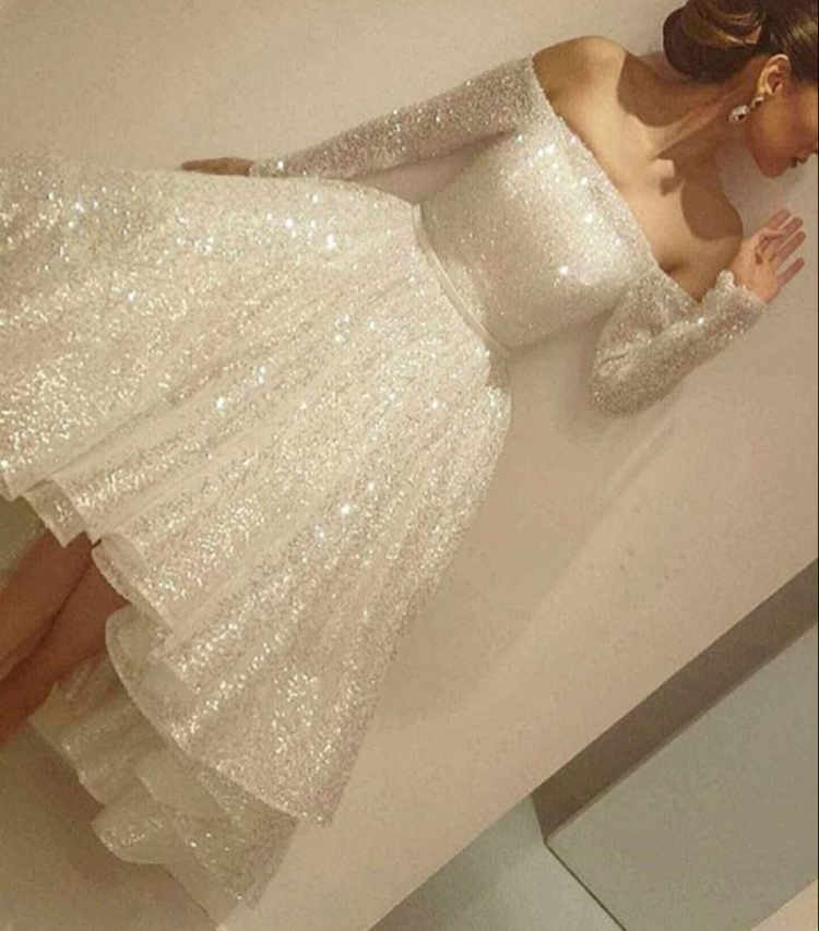 White sequins long sleeve homecoming dress,short prom dress for ...
