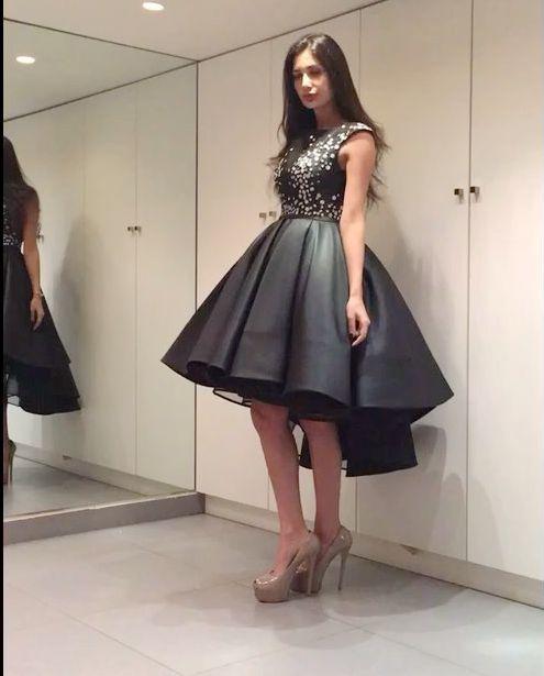 2017 Custom Charming Black A-line Prom Dress,high-low satin short ...
