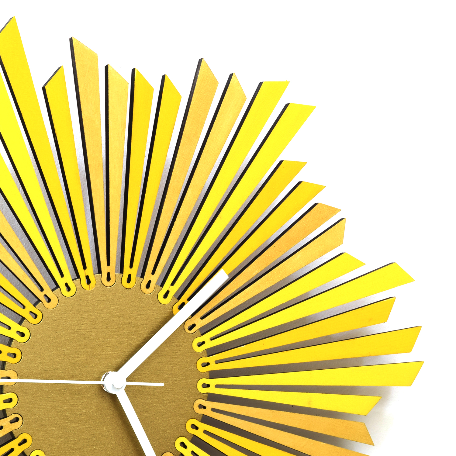 The Sun - stylish yellow / golden wooden wall clock, a piece of wall ...