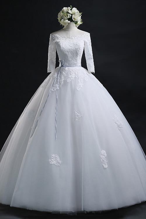 Pluffy Lace A-line Wedding Dress, Cheap Long Sleeves Wedding dress ...
