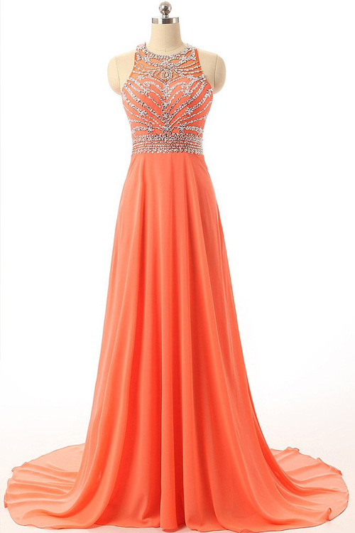 Formal Floor-Length Chiffon Prom Dress With Beading, Party Orange ...