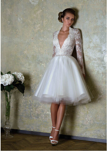 A251 Short Wedding Dresses 2015 Long Lace Sleeves Vintage Bridal ...