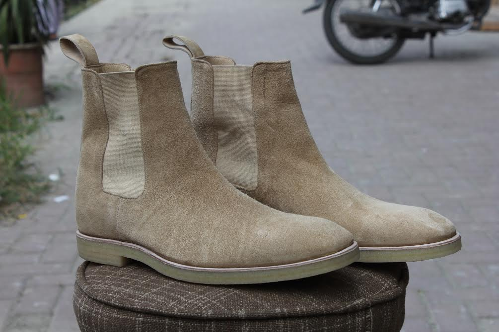 handmade mens beige color chelsea suede leather boots