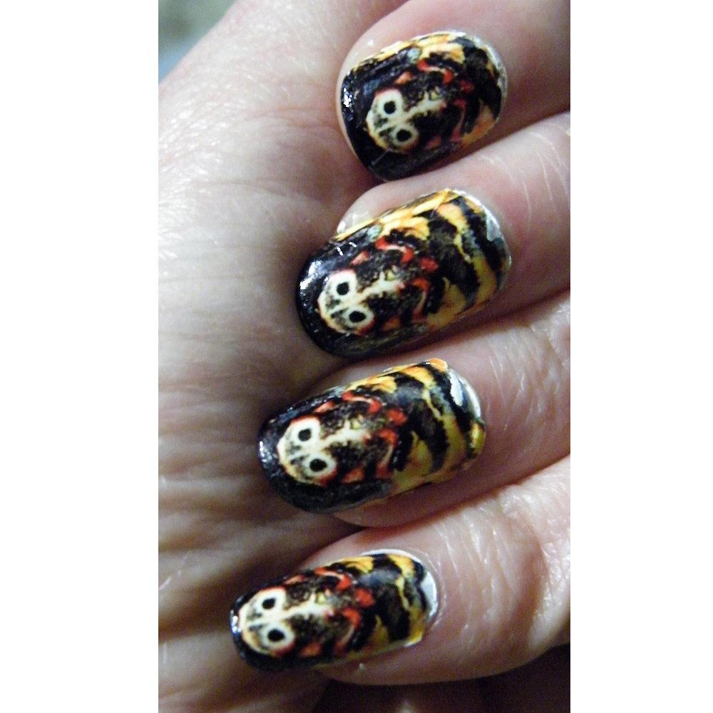 Nail Art Ideas nail art online store : Steampunk Deaths Head Moth Black Red Skull Nail Art Polish Nails ...