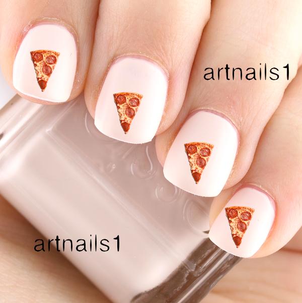 Pizza Slice Cheese Pepperoni Nail Art Polish Manicure Cosplay Mani ...