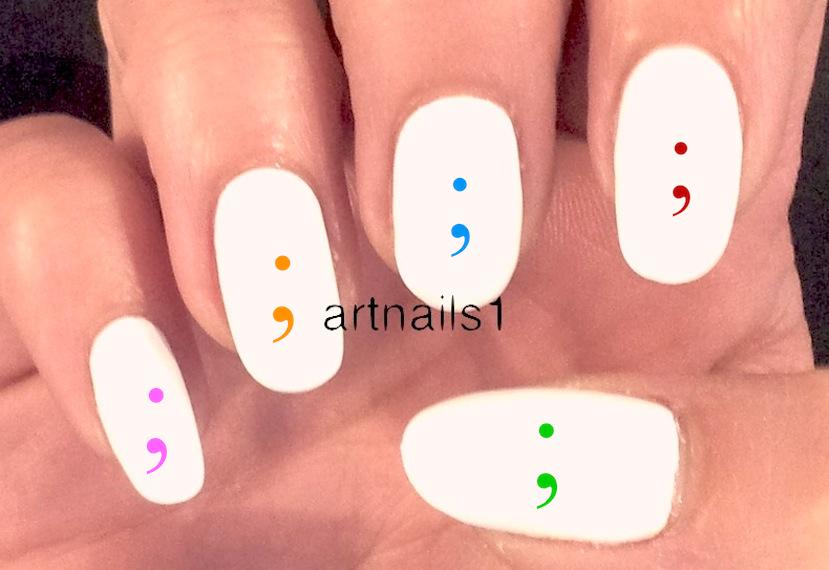 Semicolon Nail Art Manicure Wedding Mani Pedi Male Polish ...