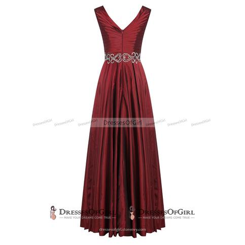 Vintage Purple Pleats Long Prom Dress, V Neck Ruched Sequins A-line ...