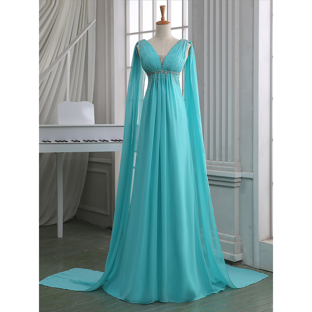 Sequins Ruched V Neck Empire Prom Dress, Turquoise Floor Length ...