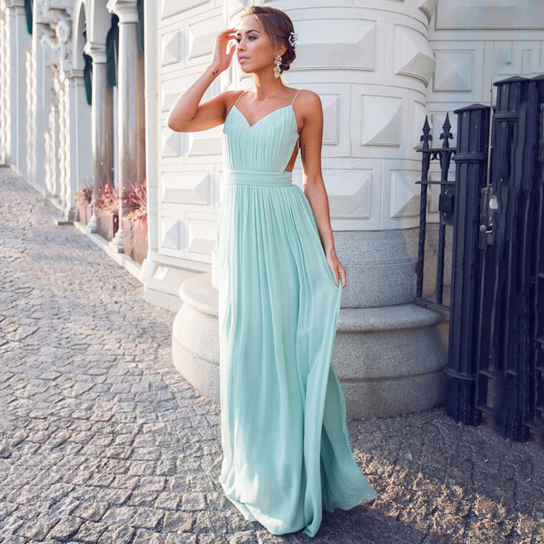 Spaghetti Straps Open Back Chiffon Prom Dress, Light Teal A-line ...
