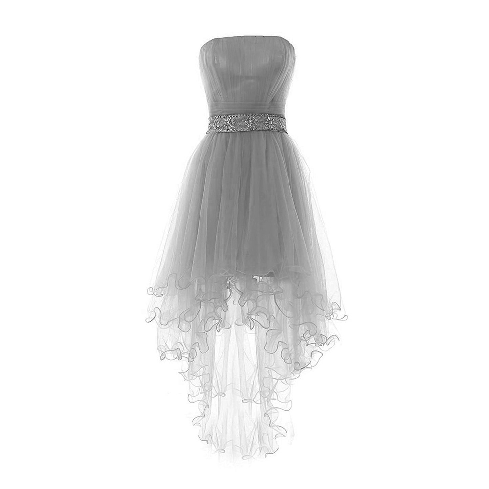 Stylish light gray strapless lace up prom dress asymmetric high low stylish light gray strapless lace up prom dress asymmetric high low tulle prom dress crystal beaded belt a line prom dress 020102725 dressesofgirl ombrellifo Choice Image