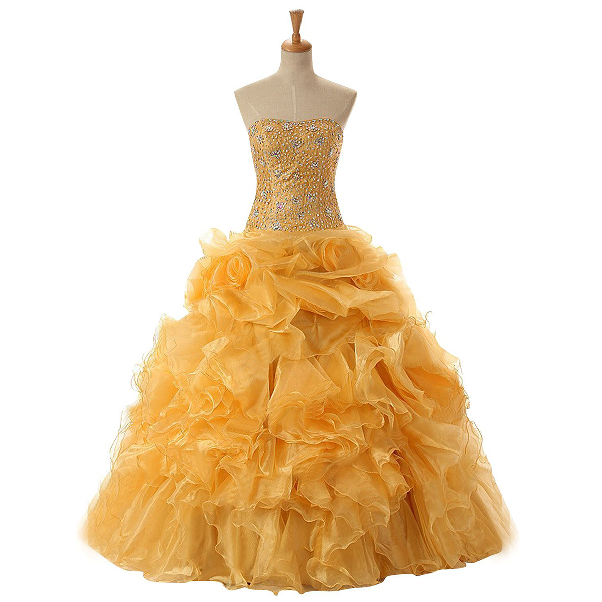 Elegant Strapless Crystal Beaded Long Prom Dress, Yellow Lace-up ...