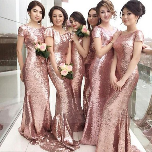 Backless Short Sleeve Mermaid Sequin Lace Bridesmaid Dresses Prom ...