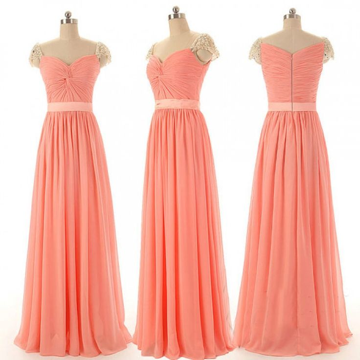 Orange Chiffon Bridesmaid Dresses,Cap Sleeves Long Bridesmaid Gowns ...