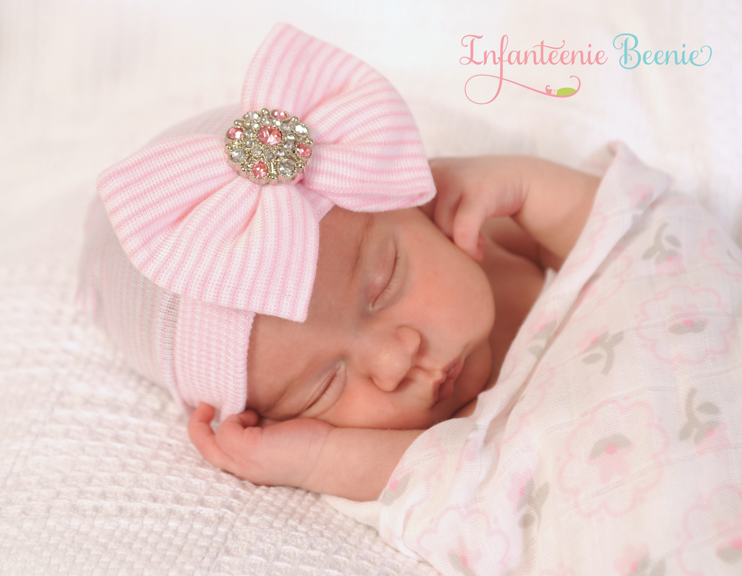 Newborn Hospital Hat with Bow and Bling 34405356f98