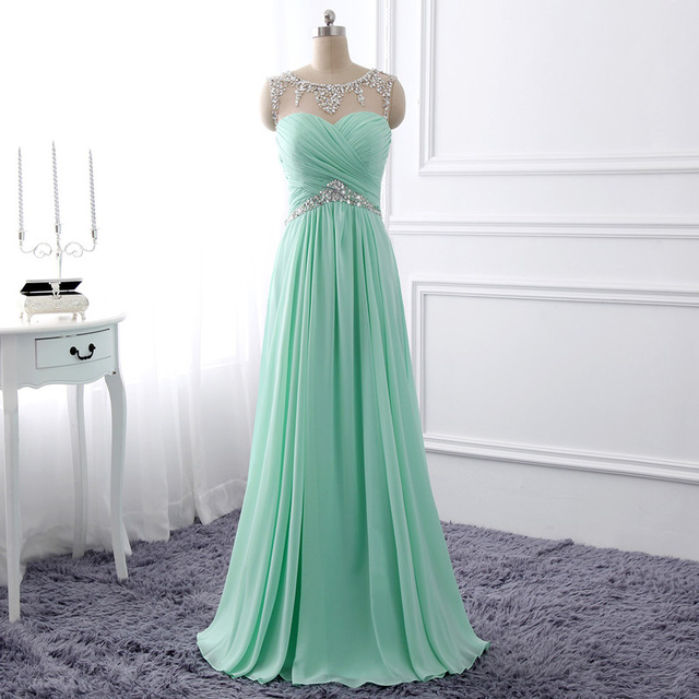 Simply Mint Green Chiffon Long Prom Dress With Beaded, Wedding Gust ...