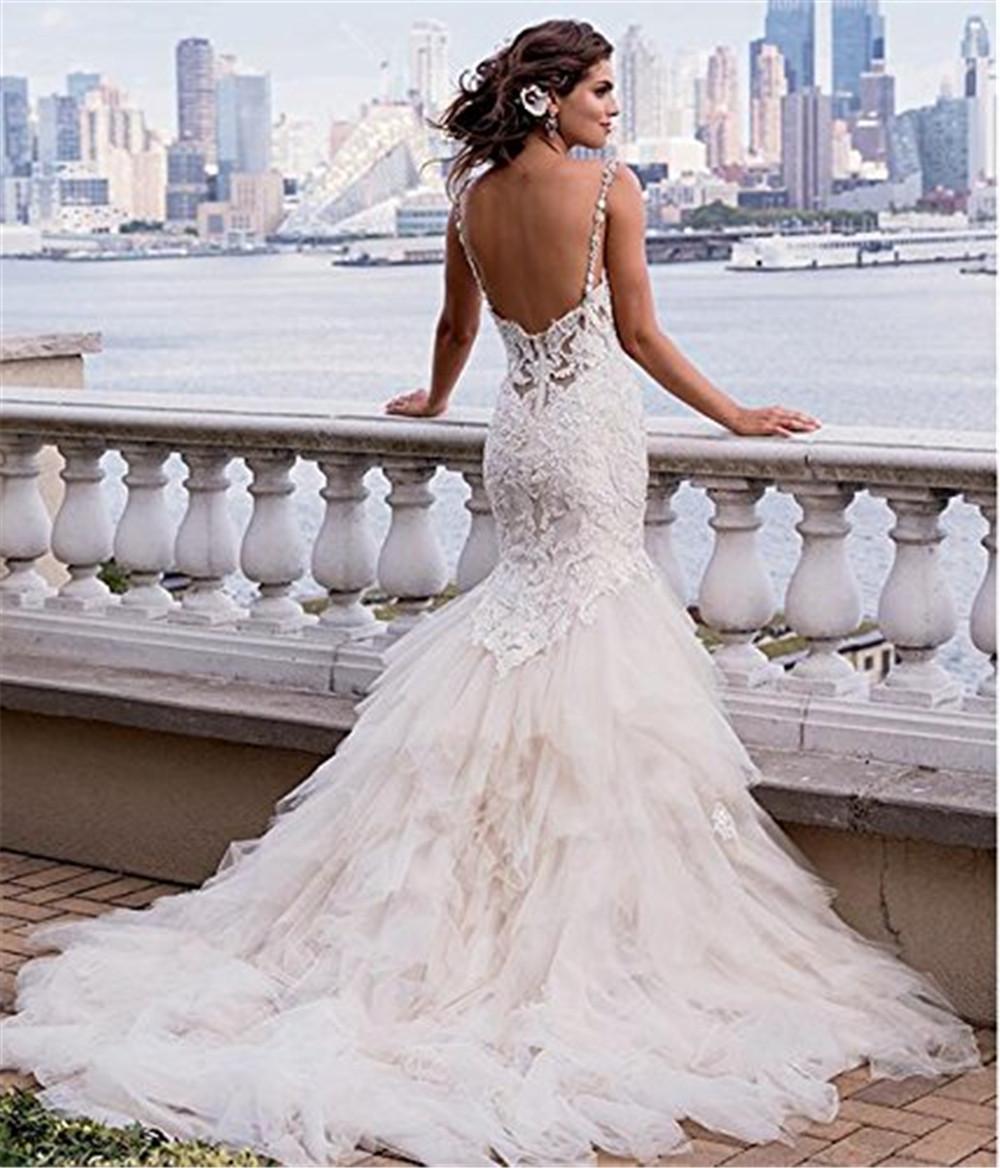 Luxury Mermaid Backless Appliques Chapel Train Wedding Dress ...