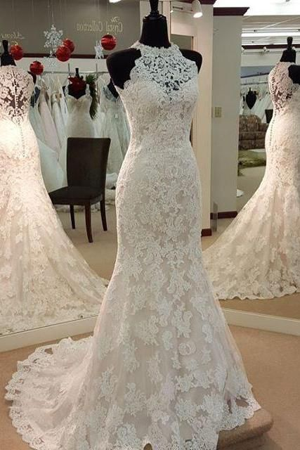 Lace Wedding Dress Halter Neckline Buttons Back · Onlyforbrides ...