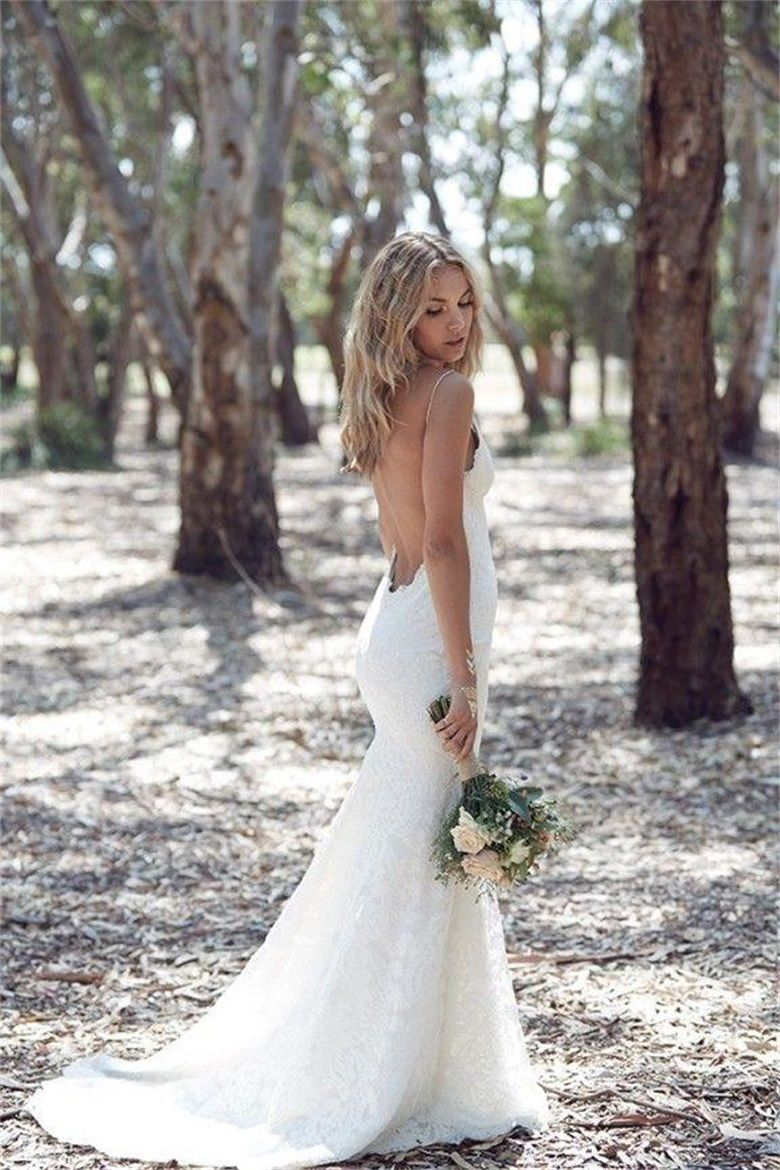 Bohemian lace backless wedding dress with spaghetti straps 0047 bohemian lace backless wedding dress with spaghetti straps 0047 junglespirit Images