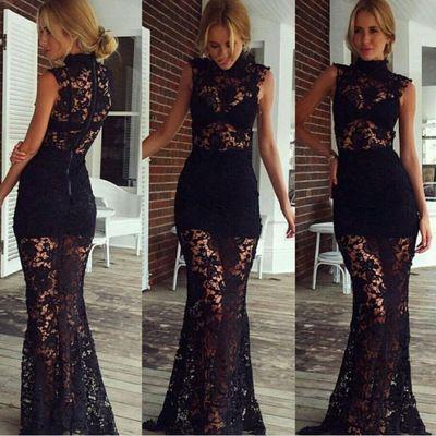 Sexy See Through Prom Dresslong Black Lace Evening Dresslong