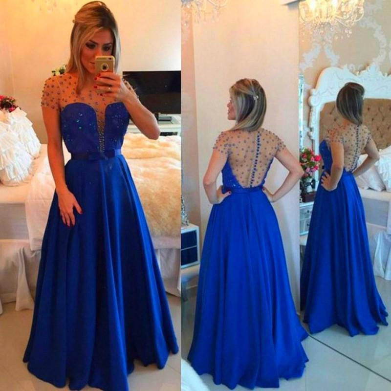 Short Sleeves Beading Long Prom Dress Wedding Party Dresses