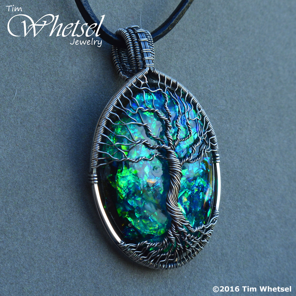 Silver Wire Wrap Tree of Life Pendant - Opalescent Glow in The Dark ...