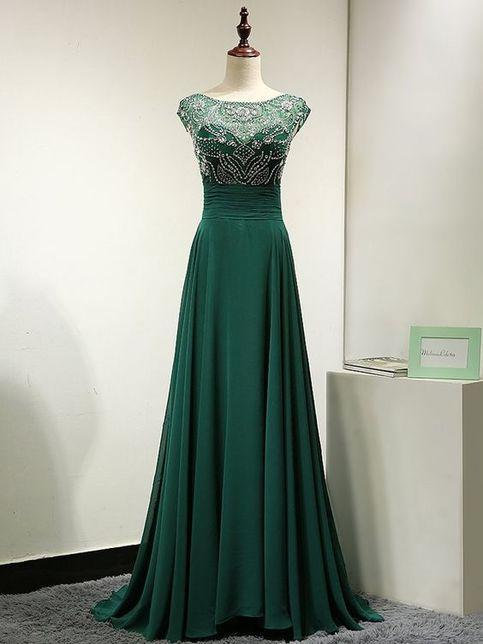 2017 New Long Sexy Dark Green Chiffon Prom Dress A Line