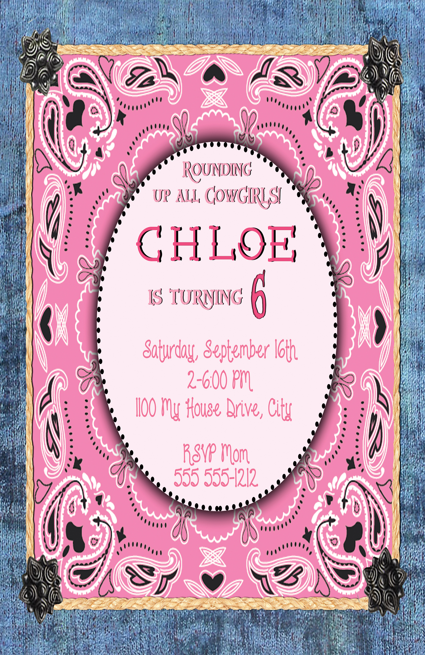 Cowgirl Pink Personalized Birthday Invitation 2 Sided, Birthday Card ...