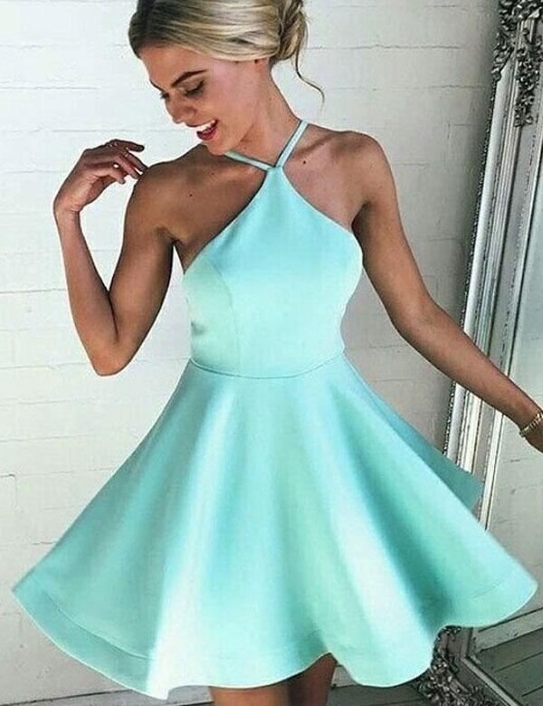 A299 Mint Satin Short Homecoming Dresses, Halter Short Prom Dresses ...