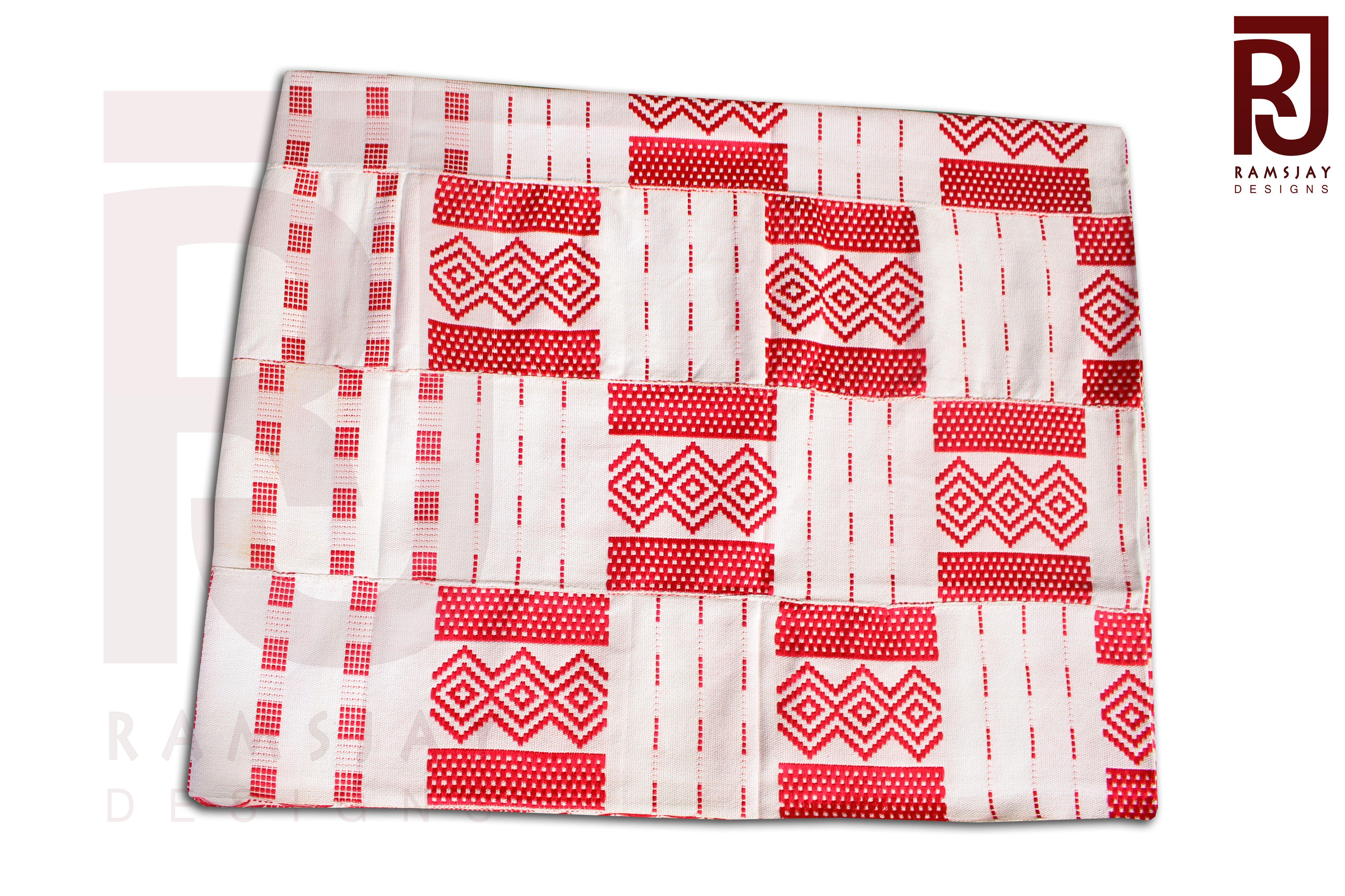 Red White 100 Handwoven Kente Cloth Kente Kente Fabric African