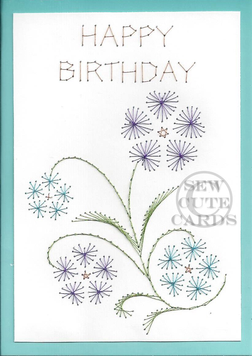 Birthday Flowers Card Sew Cute Cards Online Store Powered By
